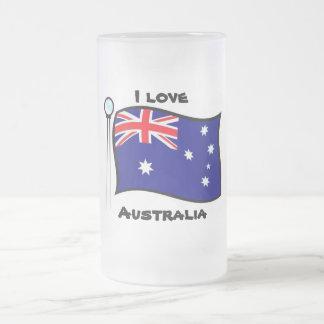 Australia 16 Oz Frosted Glass Beer Mug
