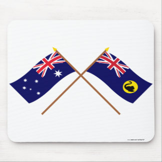 Australia and Western Australia Crossed Flags Mouse Pad