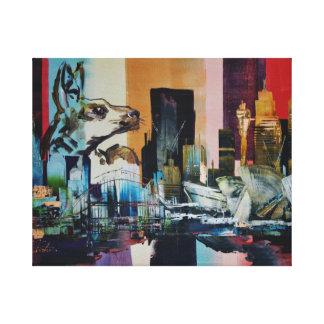 Australia City Skyline Kangaroo 0482 Canvas Print