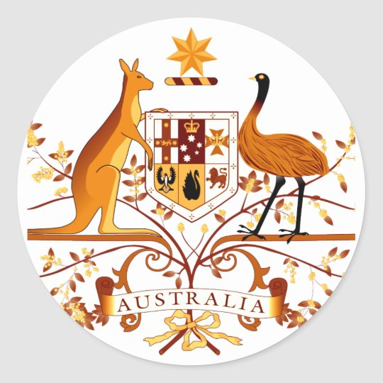 Australia COA Brown Classic Round Sticker