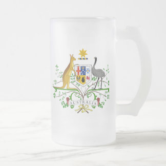 Australia Coat of Arms 16 Oz Frosted Glass Beer Mug