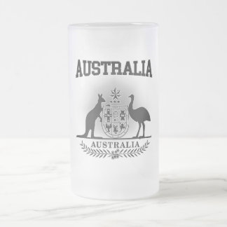 Australia Coat of Arms Frosted Glass Beer Mug