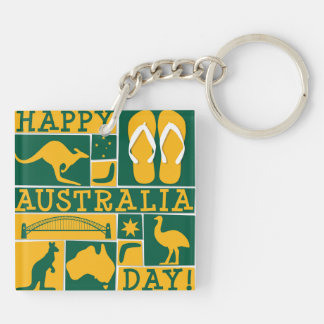Australia Day Double-Sided Square Acrylic Keychain