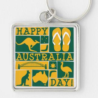 Australia Day Silver-Colored Square Keychain