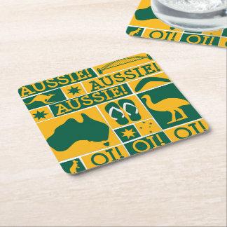 Australia Day Square Paper Coaster