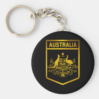Australia Emblem Basic Round Button Keychain