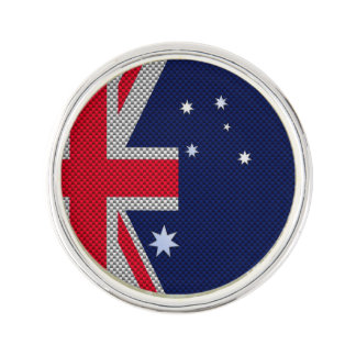 Australia Flag Design in Carbon Fiber Chrome Decor Lapel Pin