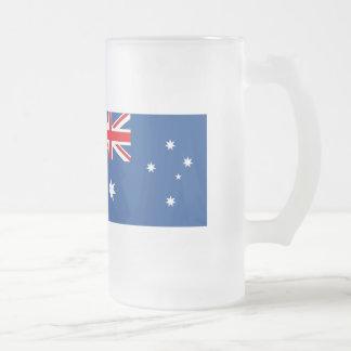Australia Flag Frosted Glass Beer Mug