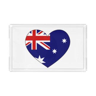 Australia Flag Heart Acrylic Tray