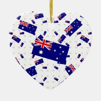 Australia Flag in Multiple Layers Askew Ceramic Heart Ornament