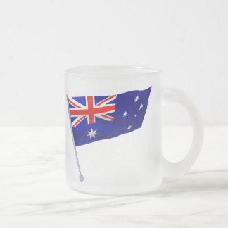 Australia flag in the wind 10 oz frosted glass coffee mug