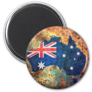 Australia Flag Map 2 Inch Round Magnet