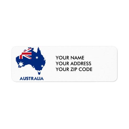 AUSTRALIA FLAG MAP RETURN ADDRESS LABEL