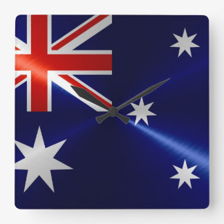 Australia Flag Metallic Metal Square Wall Clock