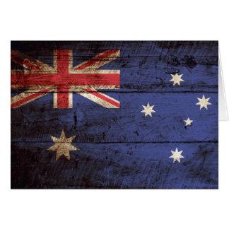 Australia Flag on Old Wood Grain Card