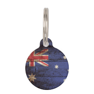 Australia Flag on Old Wood Grain Pet Name Tag