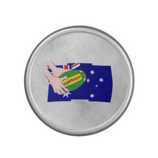 Australia Flag Rugby Ball Cartoon Hands Speaker