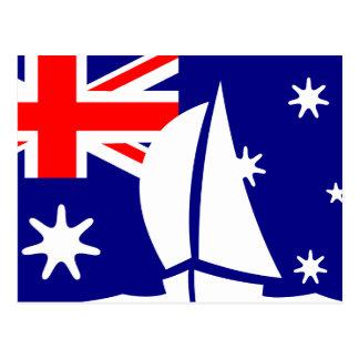 Australia Flag Sailing Boat Nautical Postcard