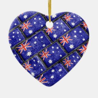 Australia Flag Urban Grunge Pattern Ceramic Ornament