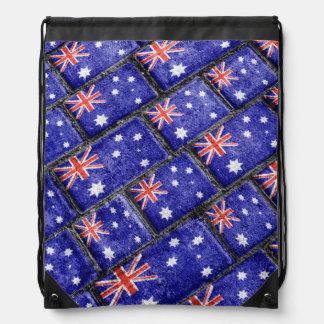 Australia Flag Urban Grunge Pattern Drawstring Bag
