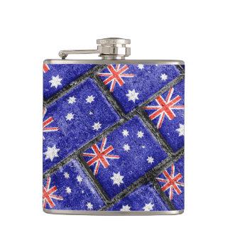 Australia Flag Urban Grunge Pattern Hip Flask