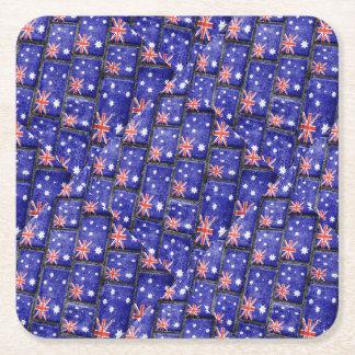Australia Flag Urban Grunge Pattern Square Paper Coaster