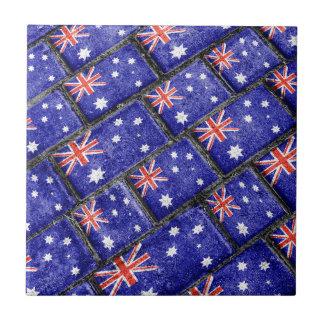 Australia Flag Urban Grunge Pattern Tile