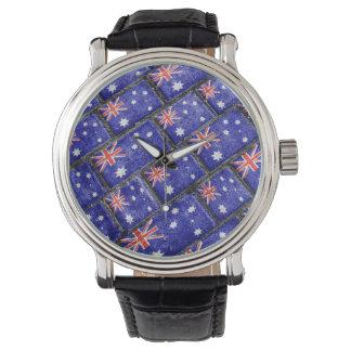 Australia Flag Urban Grunge Pattern Wrist Watch
