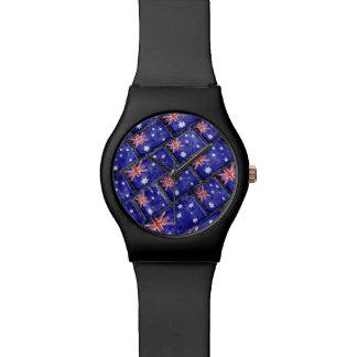 Australia Flag Urban Grunge Pattern Wristwatches