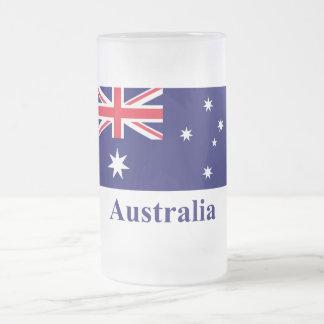 Australia Flag with Name 16 Oz Frosted Glass Beer Mug