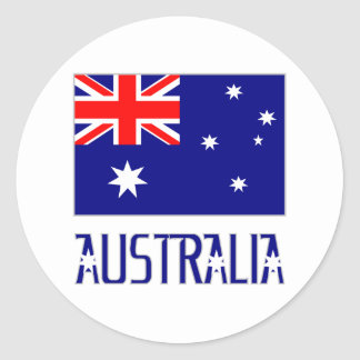 Australia Flag & Word Classic Round Sticker