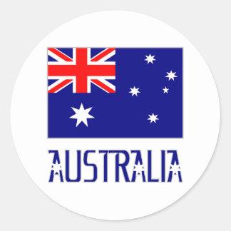 Australia Flag & Word Round Sticker