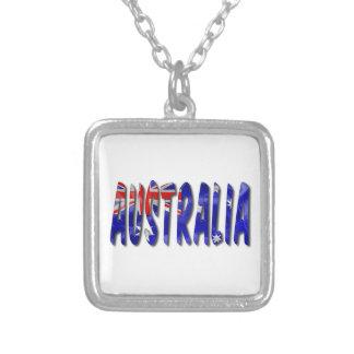 Australia Flag Word Square Pendant Necklace