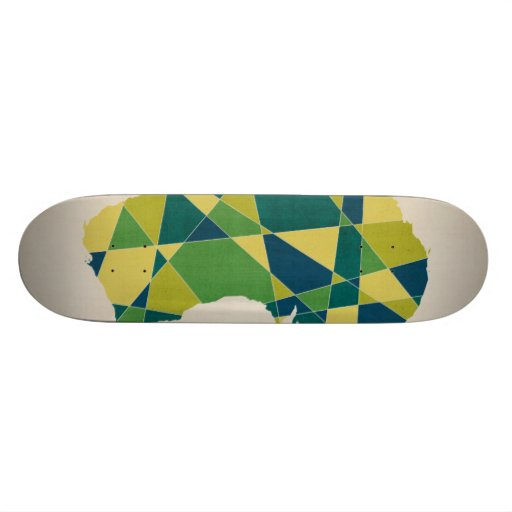 Australia Geometric Retro Map Skate Board