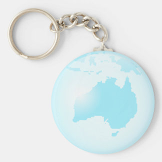 Australia Glass Globe Basic Round Button Keychain