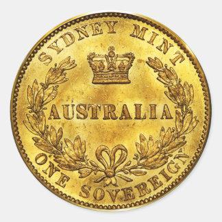 Australia Gold Sovereign Vintage (pack of 6/20) Round Sticker