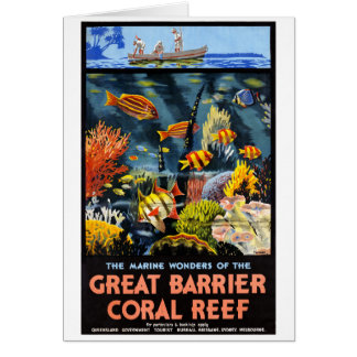 Australia Great Barrier Coral Reef Vintage Poster Card