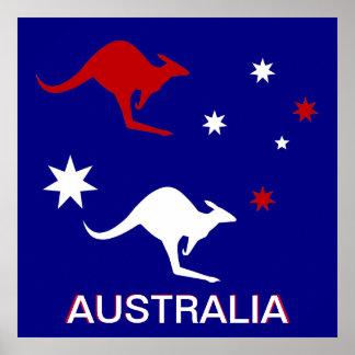 Australia Kangaroo and Southern Cross design Poster