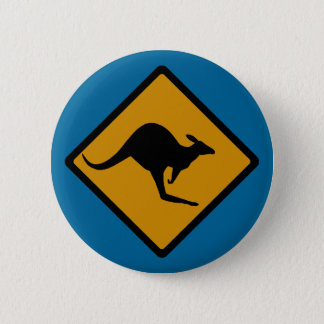 Australia Kangaroo Crossing Sign 2 Inch Round Button