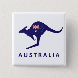 AUSTRALIA KANGAROO FLAG 2 INCH SQUARE BUTTON