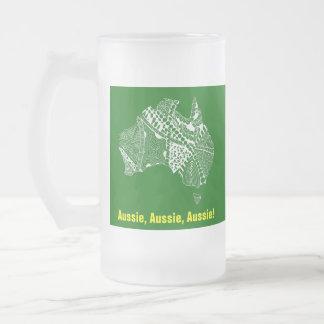 Australia Map Aussie Aussie Aussie Oi Oi Oi 16 Oz Frosted Glass Beer Mug