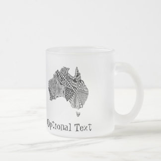Australia Map Doodle 10 Oz Frosted Glass Coffee Mug