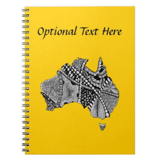 Australia Map Doodle Art Black and White Notebook