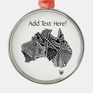 Australia Map Doodle Art Black and White Christmas Tree Ornament