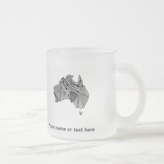 Australia Map Doodle Frosted Glass Mug