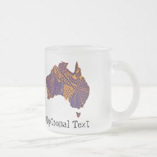 Australia Map Doodle Orange Purple Frosted Glass Coffee Mug