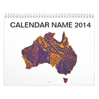 Australia Map Doodle Orange Purple Wall Calendar
