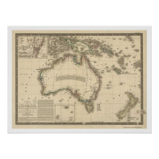 Australia Map Drawn by Adrien Hubert Brue 1826 Poster