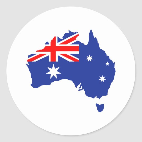 Australia map flag classic round sticker