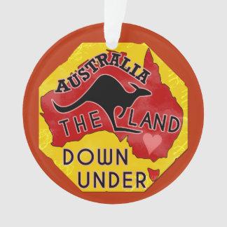Australia Map Land Down Under with Kangaroo Retro